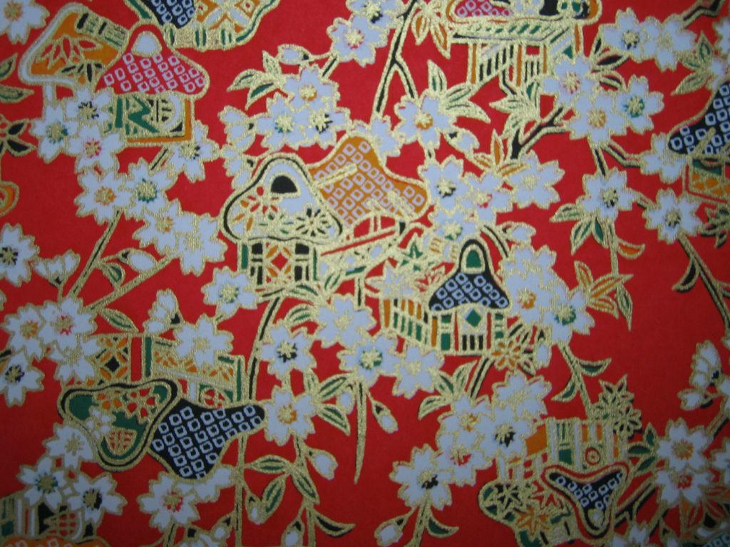 和紙:桜模様(赤色)