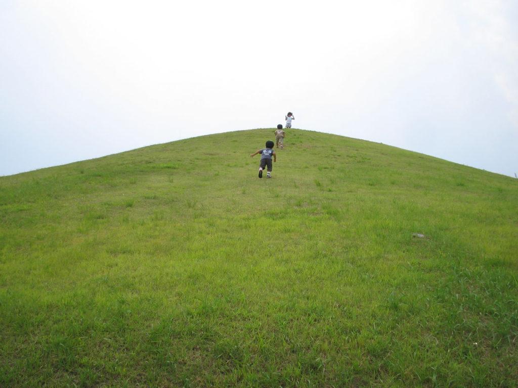 丘をかけあがる子ども達