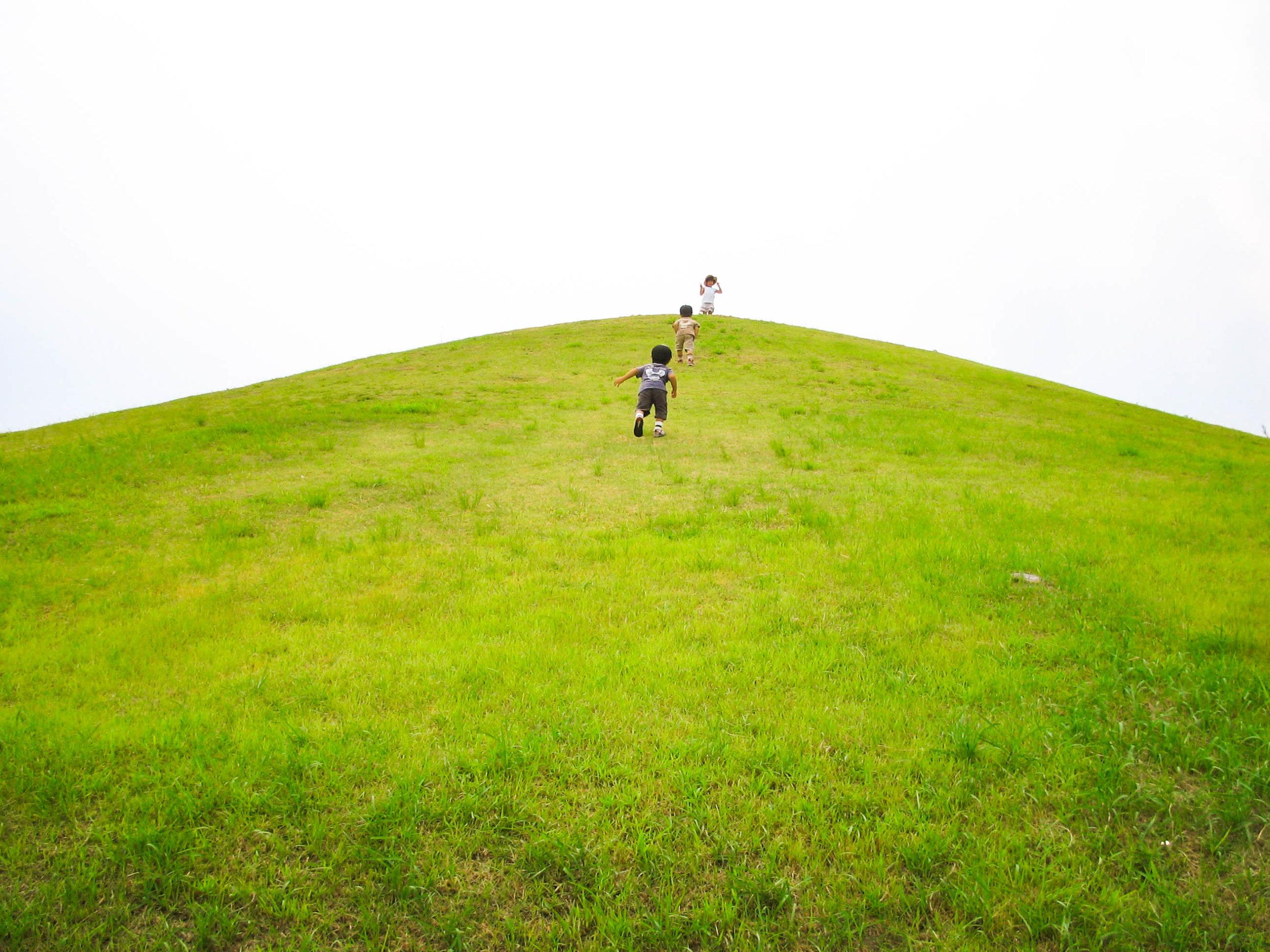 丘をかけあがる子ども達の写真