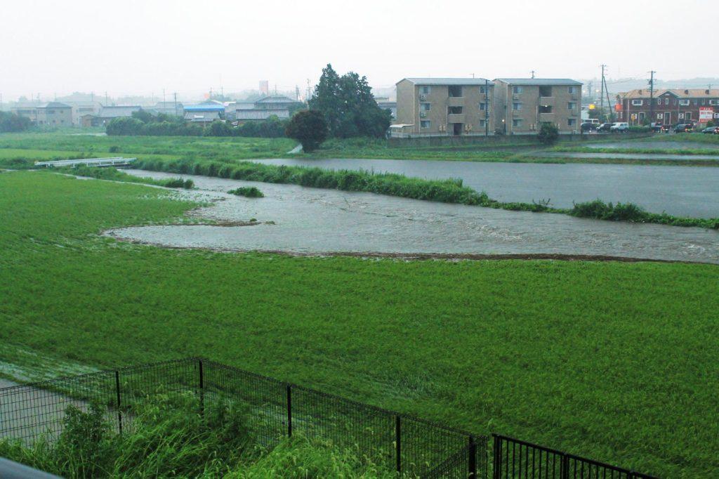 川が氾濫して溢れた水が田んぼに流れ込む様子