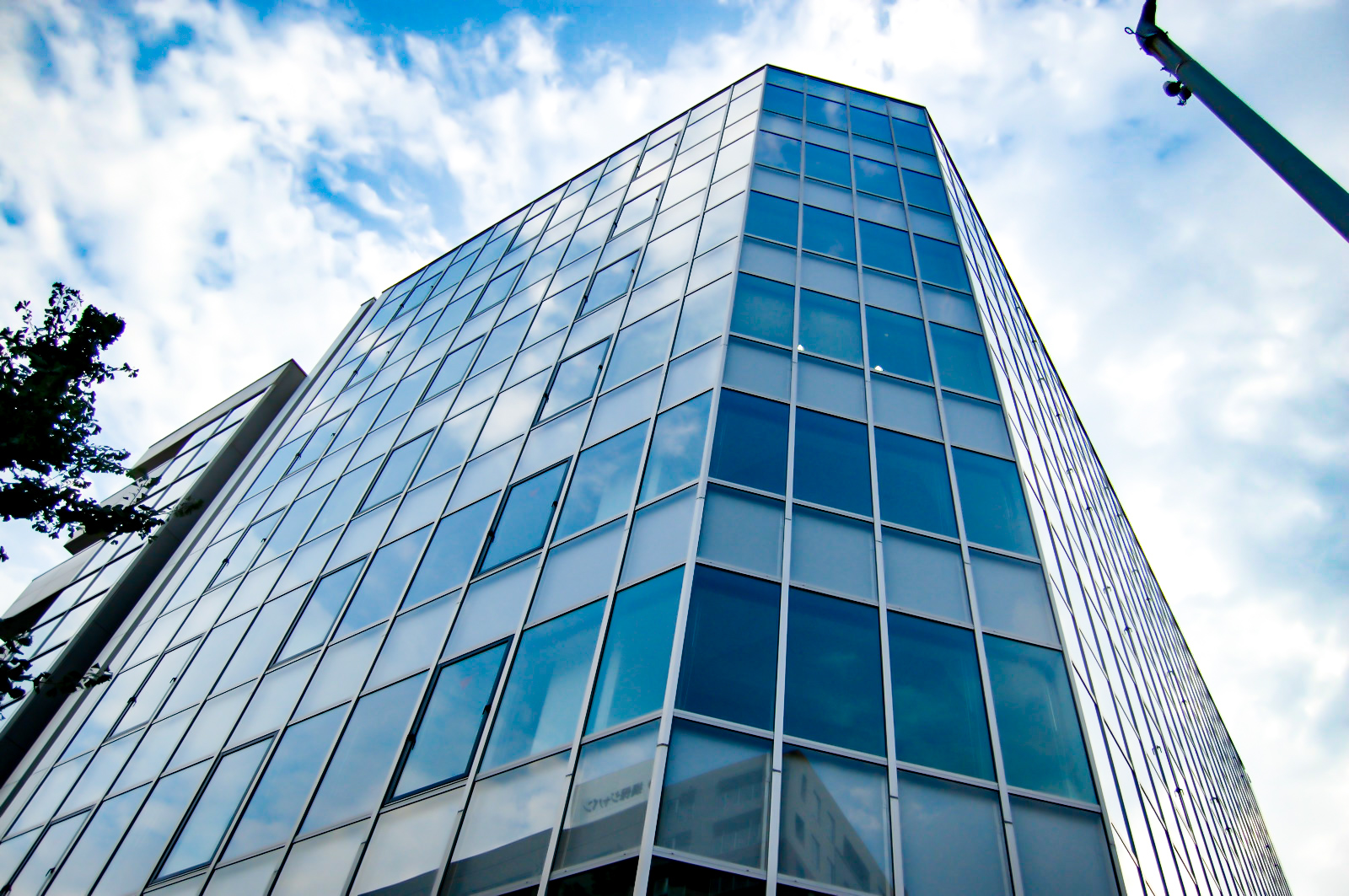 オフィスビルの一角から見上げる